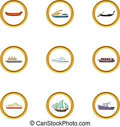 Cruise icons set, cartoon style - Cruise icons set. Cartoon...