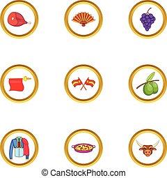 Spanish journey icons set, cartoon style - Spanish journey...
