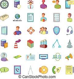 Bad economy icons set, cartoon style