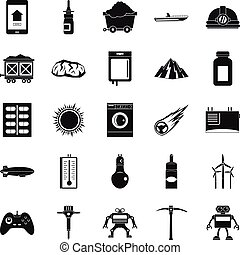 Software icons set, simple style