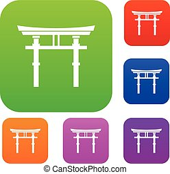 Japanese torii set collection - Japanese torii set icon in...