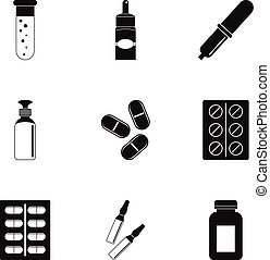 Pharmacy icon set, simple style - Pharmacy icon set. Simple...