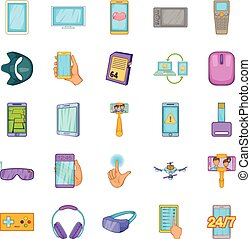 Widget icons set, cartoon style - Widget icons set. Cartoon...