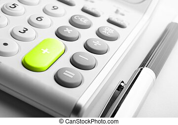 calculator showing business accounting concept in white