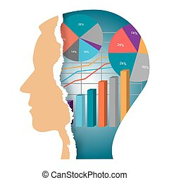 Torn paper head with economy charts - Stylized Male head...