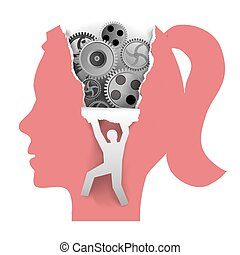 Discover Woman Psychology - Stylized Famale head in profile...
