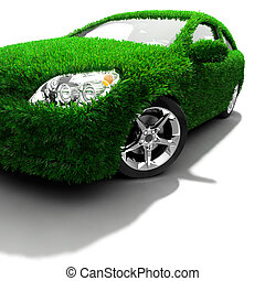 The metaphor of the green eco-friendly car - Concept of the...