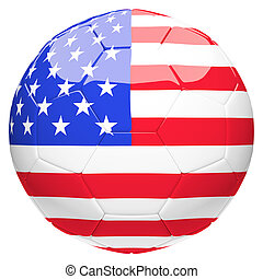 Soccer football with United State of America flag 3d...