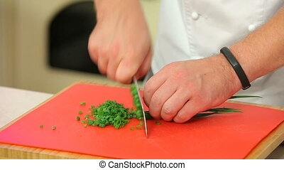 Chopping green onions on a board - Chef is chopping green...