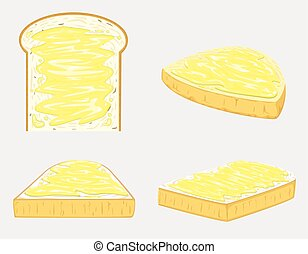 Butter Bread vector and illustration