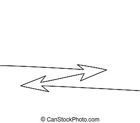 Abstract arrows sign. Continuous line drawing icon. Vector...