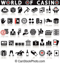 Gambling icons set. Card and casino, poker game, dice and...