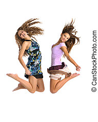 two jumping gilrs on white background