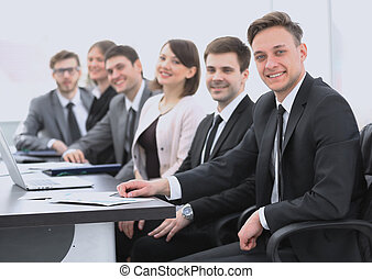 portrait of successful business team in office - business...