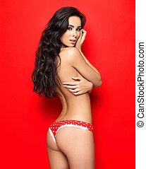 Sexy in Red Lingerie - Beautiful and sexy woman wearing red...