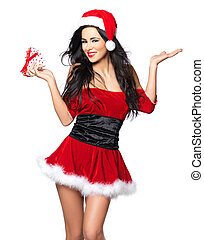Sexy Santa - Beautiful and sexy woman wearing santa clause...