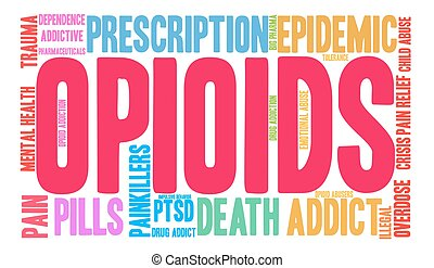 Opioids Word Cloud - Opioids word cloud on a white...