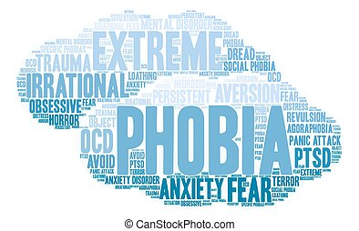 Phobia Word Cloud - Phobia word cloud on a white background.