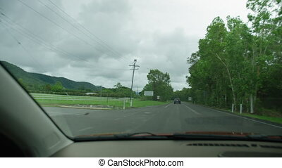 A wide shot of the road
