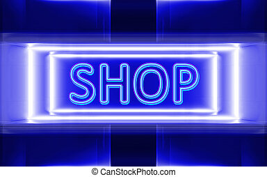 neon sign of shop