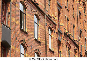 warehouses - Old warehouses on the river Elbe in Hamburg.