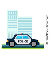 police car with office build. City safe from terrorism...