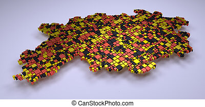 Decorative map of Hesse - Map of Hesse - Germany - into a 3d...