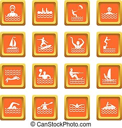 Water sport icons set orange - Water sport icons set in...