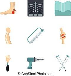 Orthopedic surgery icon set, flat style - Orthopedic surgery...