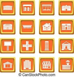 City infrastructure items icons set orange - City...