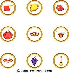 Spanish culture icons set, cartoon style - Spanish culture...