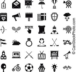 Flying arrow icons set, simple style