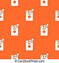 Grocery bag with food pattern seamless - Grocery bag with...