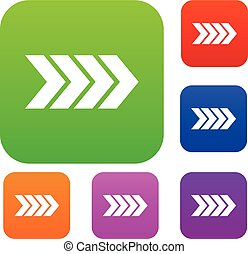Striped arrow set collection - Striped arrow set icon in...