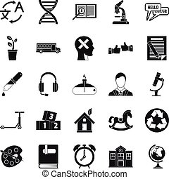 New discoveries icons set, simple style - New discoveries...