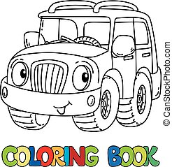 Funny jeep or outroader with eyes coloring book - Offroader...