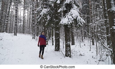 woman shake down the snow with a tree - Young woman in a red...