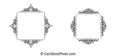 Vintage vector swirl frame set