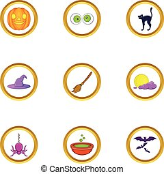 All saints day icon set, cartoon style - All saints day icon...
