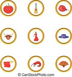 Catalonia icons set, cartoon style - Catalonia icons set....