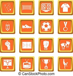 Soccer football icons set orange - Soccer football icons set...