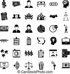 Conformity in work icons set, simple style - Conformity in...