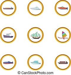 Marine icons set, cartoon style - Marine icons set. Cartoon...