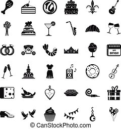 Love banquet icons set, simple style - Love banquet icons...