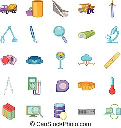 Engineering icons set, cartoon style