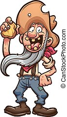 Happy miner - Happy old cartoon prospector holding a piece...