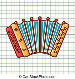 Accordion. Musical instrument for kid. Baby toy. Cartoon...