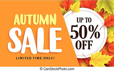 Autumn sale banner design with discount label in colorful...