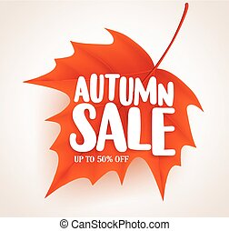 Orange autumn leaf with sale text in white background vector banner