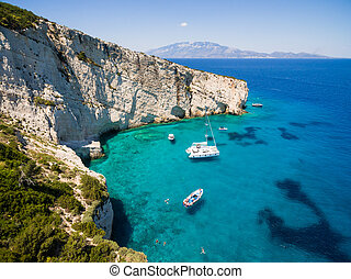 Aerial view of Agios Nikolaos blue caves in Zakynthos...